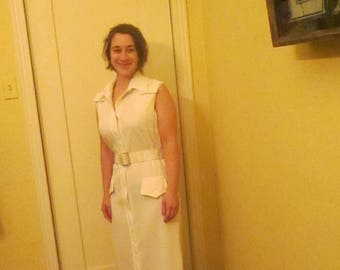 60s Mod Maxi Dress /  White Belted Shift Floor Length Sophisticated Miss Tags