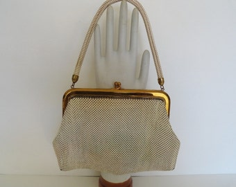 Vintage 1940s Whiting and Davis Alumesh Ivory Handbag  Antique Whiting & Davis Mesh Evening Bag  Ivory Bone Bridal Wedding Evening Bag