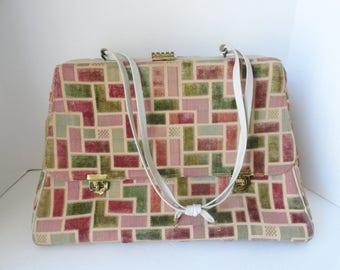 RARE Vintage Bonwit Teller Tapestry Travel Luggage 1950s Bonwit Teller Carpet Bag with Cream Leather Straps Tapestry Doctors Satchel Bag