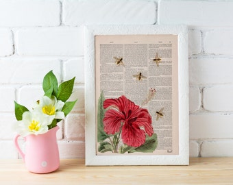 Summer Sale Bees and the Hibiscus  Dictionary art print-wall art home decor, Wall decor bees insect Poster art BFL003