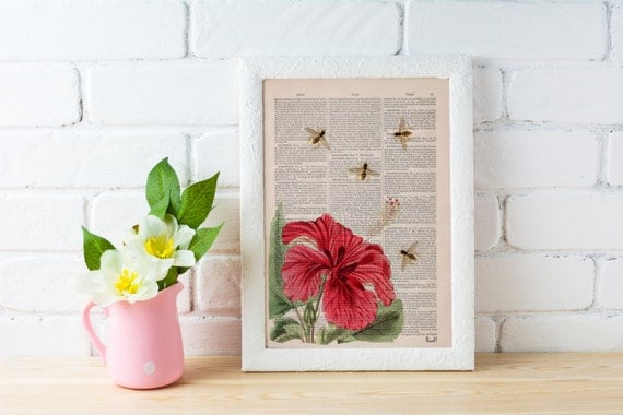 Spring Sale Bees and the Hibiscus  Dictionary art print-wall art home decor, Wall decor bees insect Poster art BPBB03