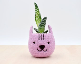 Neko Atsume planter special edition / Felt succulent planter / Cat head planter / Valentine day gift / gift for her