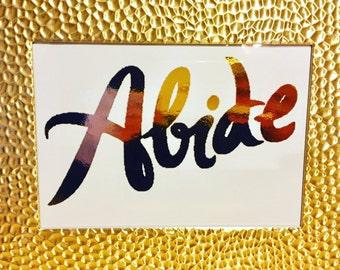 Gold Foil Print - Abide 8x10 Scripture - White Cardstock - Great Gift Idea Home Decor Bible