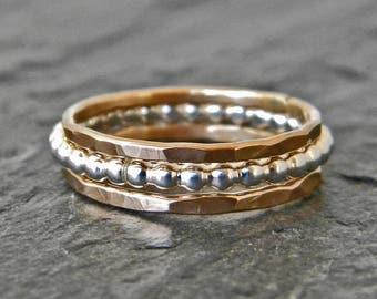 Solid Gold 14 Karat Ring Set - Gold Wedding Band Set - Sterling Silver Ring - 14 K Gold Stacking Rings - 14 K Gold Ring Set - Wedding Ring