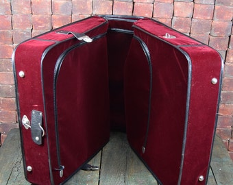 Rare Red Velvet Suitcase -- Please convo us for shipping quote; note shipping is not free!
