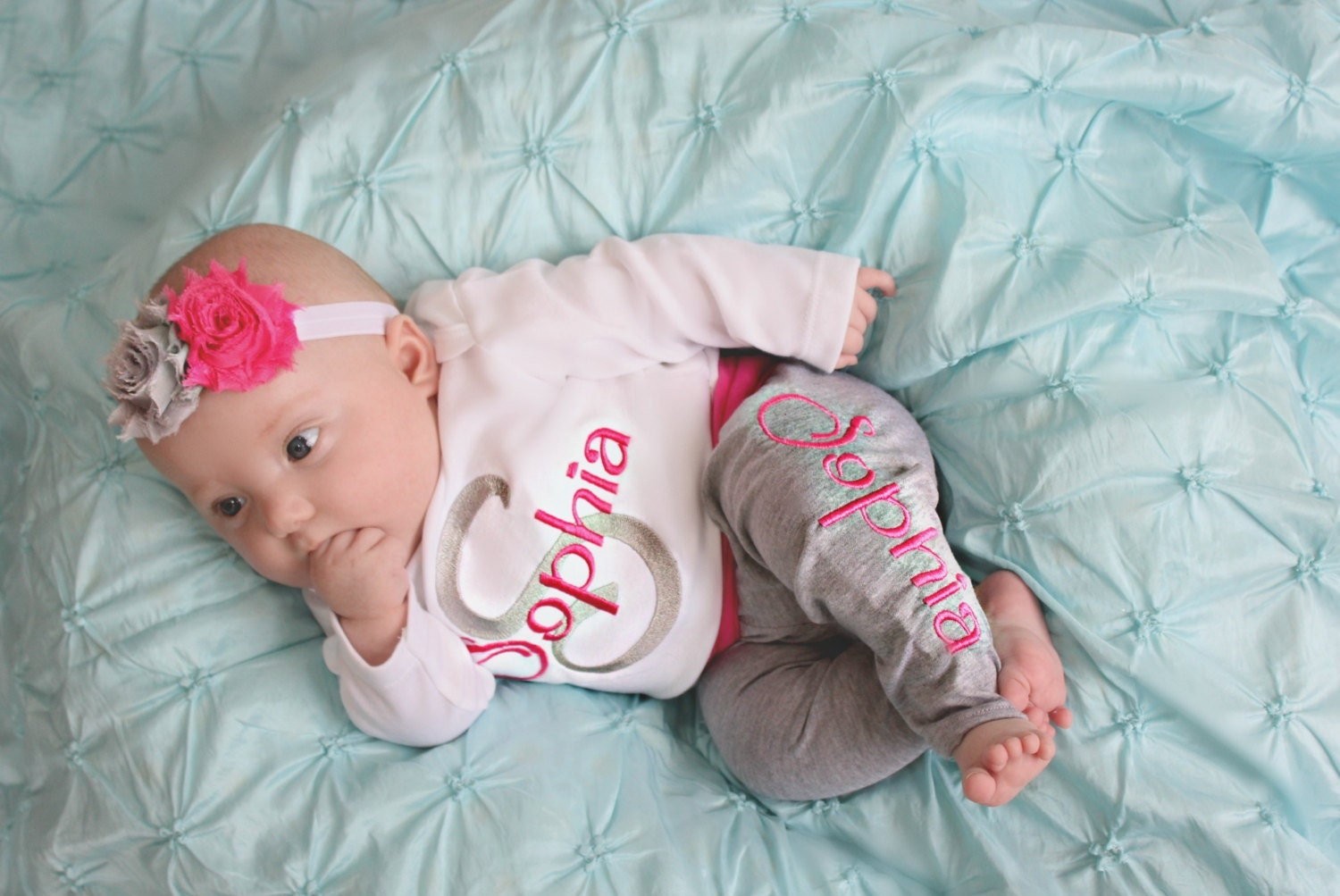 Our layettes for newborn baby girls and boys are made with the softest fabrics. Shop newborn boutique clothes with Miki Miette's Layette collection.