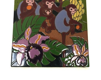 Arius Hand Painted Jungle Scene Monkeys In Trees Decorative 9X9 Clay Tile