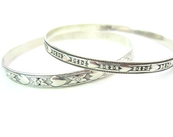 Felch and Co Bangle Bracelets. Early Danecraft Sterling Silver. Hearts and Flowers. Set of Two. Engagement Gift. Vintage 1940s Retro Jewelry