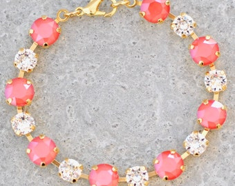 Light Coral Bracelet Swarovski Crystal Tennis Bracelet Diamond Orange Bridesmaid Jewelry Orange Wedding Tennis Bracelet Destination Wedding