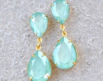 Mint Green Swarovski Crystal Earrings Rhinestone Dangle Pastel Green Bridesmaids Earrings Sea Foam Post Dangle Clip On Pear Earrings Pastel