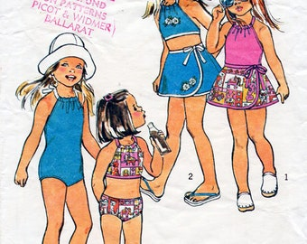 1970s Girl's Bathing Suit & Skirt Pattern Simplicity 6422 Child's Vintage Sewing Pattern Bikini or One Piece Swimsuit and Wrap Skirt Size 4