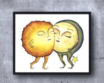 SUN + MOON - Art PRINT - Illustration, Anniversary, wedding, love, valentines day, kitchen art, home decor