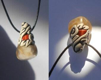 Citrine pendant with Jasper / Citrine / leafy citrine / UPLIFTING CRYSTAL / citrine pendant / soft tribal / pendant / khayanite / jewelry