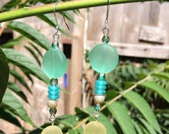 Green and Yellow Sea Glass Earrings