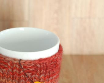 Eco friendly hand knit cup cozy Handmade mug cozy Coffee mug cozy Cup cozy Cup sleeve Tea cozy Mug cozy recycled yarn recycled yarn red