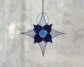 Blue Snowflake,Stained Glass,Suncatcher, Christmas Ornaments, Art & Collectibles, Glass Art, Glass Snowflakes, Decorative, Holiday, Star