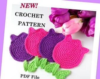 CROCHET PATTERN Tulip Coasters, Motif, PDF File
