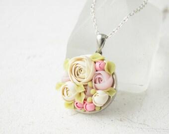 White Ivory Pink Rose Ranunculus Pendant Medaliion Wholesale Necklace Handmade Women Accessory Jewelry Birthday Wedding Bridal Mother Gift
