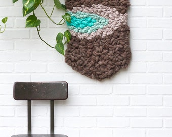 Large Woven Wall Hanging | Abstract Weaving | Modern Tapestry | Woven Alpaca Rug Yarn and Wool on a Wood Dowel