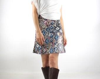 ON SALE A line skirt with ethnic ikat print, high waisted skirt, Elastic Waist Skirt, printed skirt, pull on skirt knit skirt mini skirt