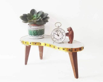 Mid Century German Small Kidney Bean Table Plant Stand with Teak Legs