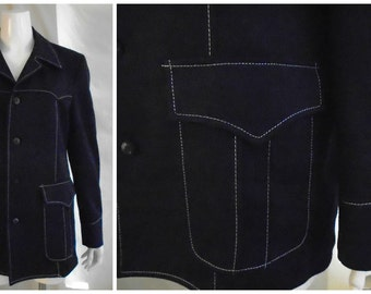 Vintage Leisure Suit Jacket 1970's Navy Contrast Stitching Big Pockets Butterfly Collar 40 Reg