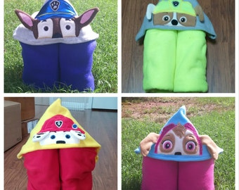 Hooded Pup Fleece Blankets