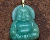 Happy Buddha Carved Jadite Pendant Green Pendant Asian Style 14kt Bail Gift for Her Mothers Day Gift Birthday Gift Valentines Christmas Gift