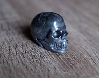 Hematite Stone Carved Crystal Skull