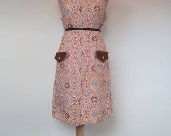 1960s Mod Scooter Shift Dress UK 14 / 16 L XL US 12 / 14
