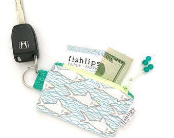 Sharks and Waves Recycled Key-chain Coin Purse, Nautical Mini Zipper Pouch, Ocean Wallet, Beach Handmade Pouch, Blue Gift For Her