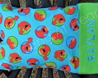LIMITED QUANTITY Red Monster Pillowcase with Monogram, Travel Size