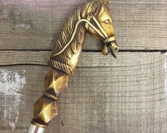 Shoehorn Horse Head Japan Resin Mid Century Shoe Horn Gift for Him Men's Gift Equestrian Shoehorn Black & Gold Men's Shoehorn Horse Lover