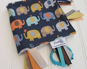 Sensory Ribbon Blanket,Lovey,Tag Blanket/Baby Jungle Elephants/Organic Cotton Fleece