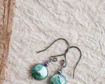 Green Pearl Earrings, Pine Green, Pearl Earrings, Freshwater Pearl Earrings, Small Earrings, Gift for Mom, Bridal Earrings, Green Wedding