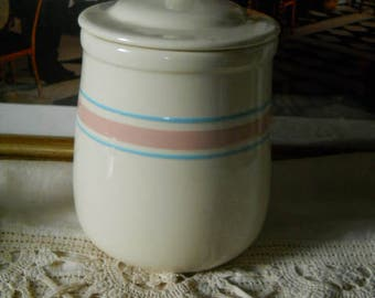 New Listing Vintage Original McCoy Cookie Jar With Lid and the Pink and Blue Stripes on Cream Colored Base Original McCoy Canister