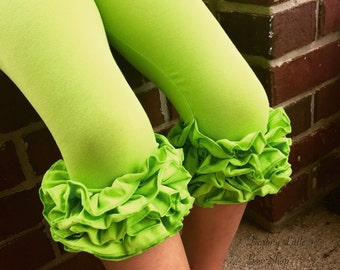 Ruffle Capris - Limeade - lime green knit ruffle capris sizes 6m to girls 8 - Free Shipping
