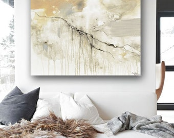 GICLEE PRINT Large Art Abstract Painting Grey White Acrylic Painting Neutral Home Decor Wall Art Large Art Minimalist Artwork - Christine