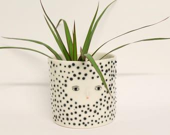 Porcelain polka dot vase  -  ceramic cache-pot - container