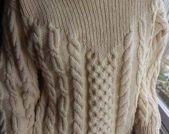 Cream Aran style wool sweater from Orkney S / M funnel roll neck
