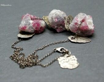 Purple/Pink Tourmaline Oxidized Raw Sterling Silver Necklace