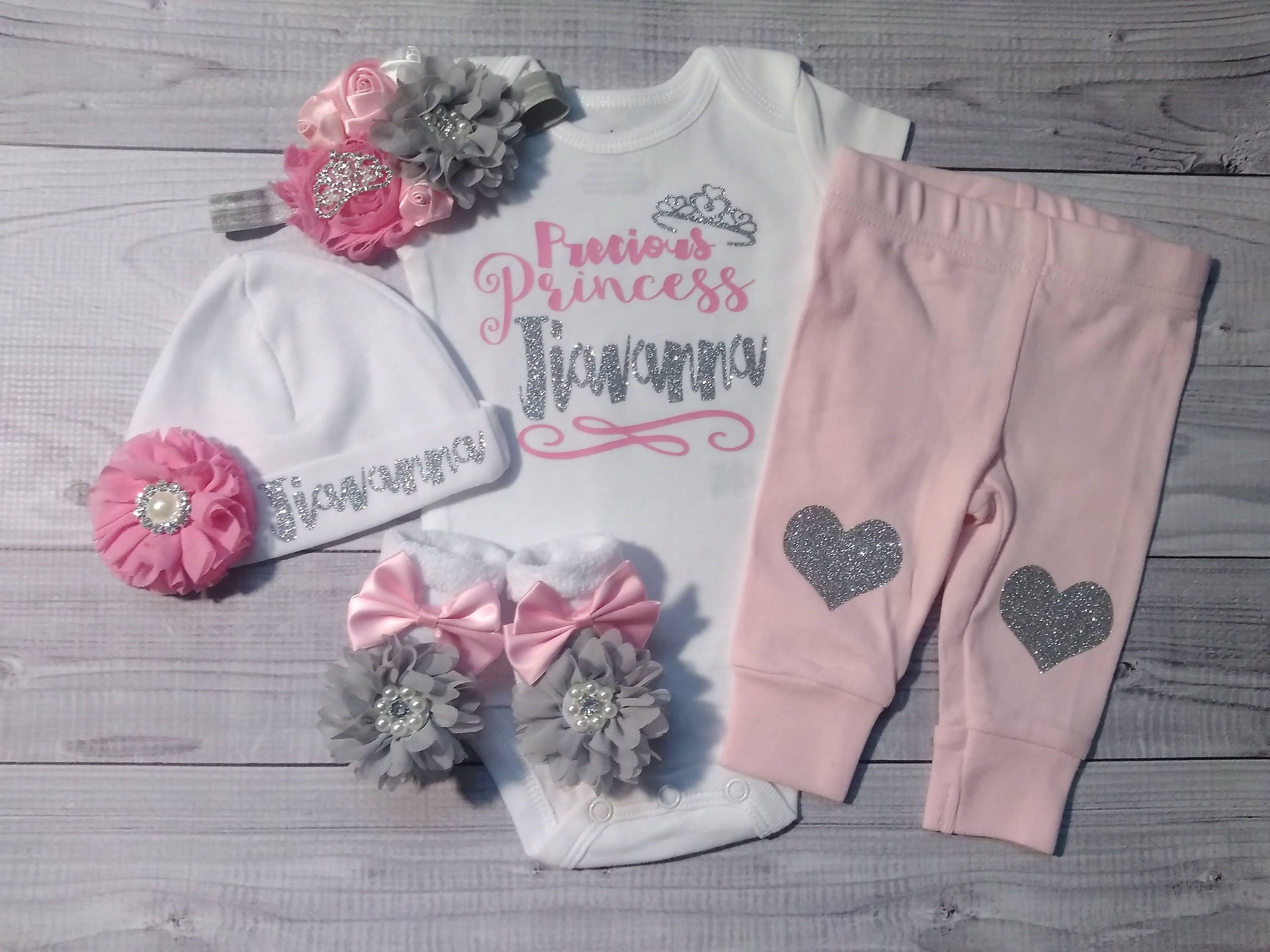 Custom Baby Girl ing home outfit personalized newborn