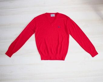 Vintage 80s Le Tigre Sweater, 1980s V Neck Sweater, Red, Grandpa, Campus