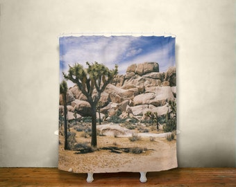 josuha tree shower curtain nature decor southern california desert bathroom southwest decor