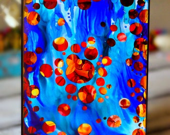 Handpainted Abstract Campfire / Alcohol Ink onYupo / Colorful Wall Art / Camping Decor / Mother's Day / Blue and Orange / Ready to Hang