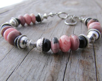 Rhodonite Bracelet, pink rhodonite and rhodochrosite, with black onyx, adjustable beaded bracelet