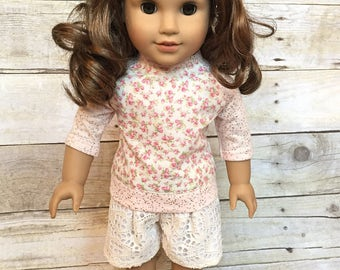 """Doll baseball shirt - cream floral cotton with rose gold flecked knit sleeves baseball t-shirt for 18"""" dolls"""