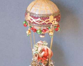 victorian ornament, victorian santa christmas ornament, hot air balloon ornament victorian, victorian christmas ornament - NORTH POLE FLIGHT