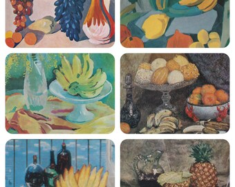 Still Lifes with Bananas. Collection / Set of 6 Vintage Prints, Postcards -- 1960s-1980s