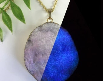Snowy Dream - LARGE - GLOW in the DARK Druzy Crystal Necklace